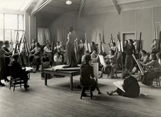 Life drawing class at Vassar college c. 1930. Just beyond and to the left of the model stand, check out how students are using upside-down chairs as supports for drawing boards. Never seen that. Of course, I've also never seen a chair like those in a studio either.