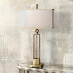 Pretty finish for fireplace wall Uttermost Caecelia Amber Glass Table Lamp