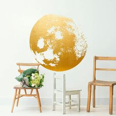 Moon Decal Golden  Gold Foil Art  Moon Wall by HomeArtStickers