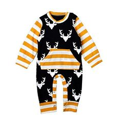 Newborn Infant Baby Boy Clothes Deer Romper Long Sleeve Cotton Jumpsuit Playsuit Outfits - Better Than Bows Rompers For Kids, Jumpsuits For Girls, Baby Rompers, Newborn Outfits, Baby Boy Outfits, Autumn Clothes, Striped Bodysuit, Baby Boy Romper, Romper Outfit