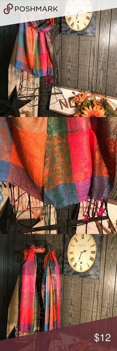 Multicolored Pashmina scarf Beautiful slightly worn colorful scarf! Accessories Scarves & Wraps