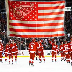 Detroit Red Wings Stars and Stripes Banner