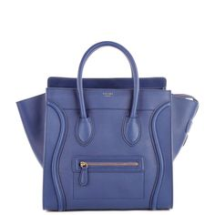 Celine Luggage Tote (30CM) in blue smooth calf leather