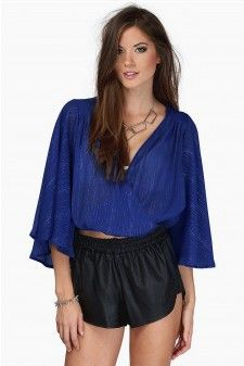 Blue Flared Sleeve Chiffon Crop Top 01615 Price: US$ 17.9 Free Shipping Worldwide