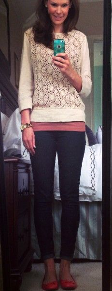 Spring outfit - lace sweatshirt, tank top, skinny jeans and coral flats.