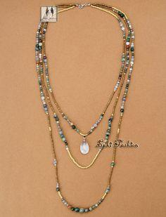 Mais novo de alta qualidade Handmade Natural índia ágata com missangas 3 colares estilo Folk colar de contas em camadas