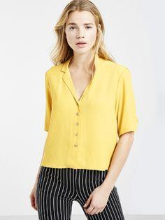 Mustard Ruched Sleeve Shirt