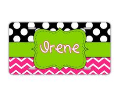Personalized license plate for girls  Hot pink lime green and black polka dots  monogram car tag vanity license plate ** Details can be found by clicking on the image.Note:It is affiliate link to Amazon.