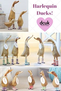 Natural finish harlequin boot ducks, ducklings and duckys. All can be personalised with the name of your choice, making a quacking gift! See more at The Duck Company, DCUK