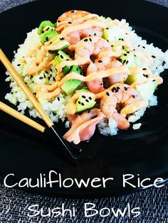 Cauliflower Rice Sushi Bowls are so healthy and delicious! Some may call this lazy sushi, but I just call it a genius way to enjoy sushi! Low Carb Recipes, Cooking Recipes, Healthy Recipes, Cooked Sushi Recipes, Cooking Tips, Healthy Sushi, Sushi Sushi, Sushi In A Bowl, Shrimp Sushi Bowl