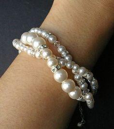 Twisted Pearl Bridal Bracelet Swarovski Pearl by luxedeluxe, $58.00