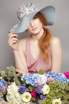 Duck-egg straw sun hat with leopard print silk chiffon   Lizzi McQuade   Racing 2013 Collection