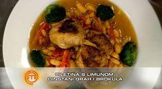 Piletina s limunom, dinstani grah i brokula