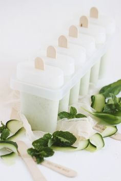 ... mint, cucumber, basil and yogurt ice pops ...