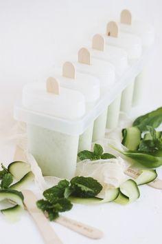 ... mint, cucumber, basil and yogurt ice pops ...