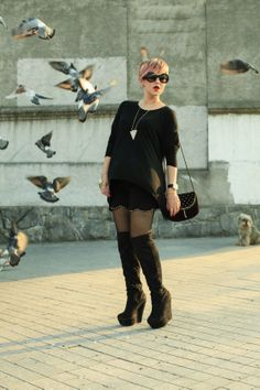 Street Style Black Outfit - Mexican Fashion Blog Nancy Nannuck 2014