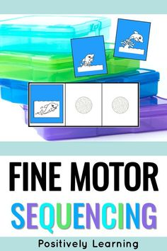 Sequencing Activities for first grade. I work with students who are developing their language and fine motor skills. These centers are exactly what they needed! Sequence task cards with 3-part events are combined with coordinating writing papers to make this low-prep literacy center! I used these during Guided Reading Daily 5. #finemotorcenters #literacycenters