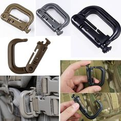 It can be attached to any molle webbing for adding lanyards or other accessories. This high strength, lightweight plastic carabiner if perfect for your next camping trip. It features a textured release button which allows easy use with gloved hands. Tactical Backpack, Tactical Gear, Molle Backpack, Survival Prepping, Survival Gear, Survival Fishing, Survival Life, Bushcraft, Camping