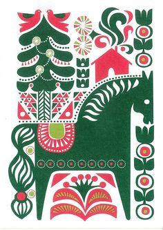 horse with birds flowers house trees green and red on white - Marimekko