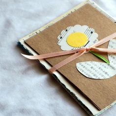 Recycled Flower Stationary with envelopes, gift, wrapped in ribbon