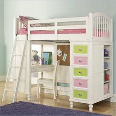 Pulaski Unique Loft Bunk Bed with Desk for Girl