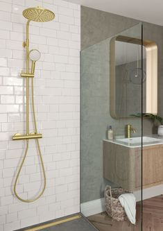 Danish tap and shower system design. The faucets come in the surface colours: Steel, PVD, brushed brass and copper, matt black e. Rich Home, Aesthetic Room Decor, Bathroom Goals, Sims House, Shower Systems, Dream Bathrooms, Interior Design Inspiration, Modern Bathroom, Hana