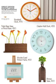 Michael Graves #Design #home #decor #collection for #JCP.  How #adorable is that #bookshelf #clock? PS - that triple glass #vase will be in my possession #ASAP :)