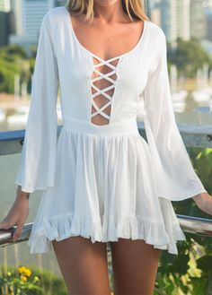 Sexy Hollow Back Criss Cross Front Romper(2 colors)