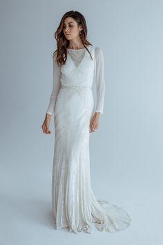 Karen Willis Holmes embellished long sleeve wedding dress