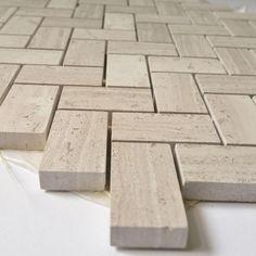 Price Per Tile (Sheet): 1 Tile equals 1 Square Foot. Sheet Size- Material Thickness- Price Per Square Foot Bathroom Floor Tiles, Shower Floor, Shower Walls, Herringbone Backsplash, Herringbone Pattern, Marble Mosaic, Mosaic Tiles, Beige Marble, Tile Crafts