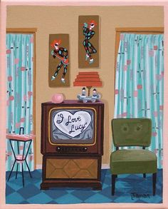 Mid Century Modern Eames Retro Limited Edition Print from Original Painting TV I Love Lucy