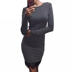 KAYWIDE Lace Patchwork Autumn Women Dress Casual Bodycon Winter Dresses With Tassel Long Sleeve Ladis Dress Vestidos 15349 Grey Bodycon Dresses, Bodycon Dress Parties, Casual Dresses For Women, Dresses For Work, Clothes For Women, Dress Casual, Gland, Dress Vestidos, Club Dresses