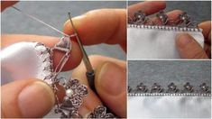 Making Single Row Crochet Lace with Leafy Pearls - Stickerei Ideen Kate Moss, Lace Making, Crochet Lace, Diy And Crafts, Christmas Crafts, Drop Earrings, Knitting, How To Make, Pattern