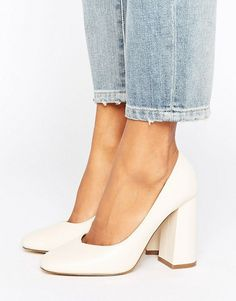 Lost Ink Freda Flared Block Heeled Shoes