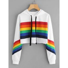 Rainbow Striped Print Crop Hoodie (180 ZAR) ❤ liked on Polyvore featuring tops, hoodies, multicolor, long-sleeve crop tops, long sleeve hoodie, pullover hoodie, striped crop top and hooded sweatshirt