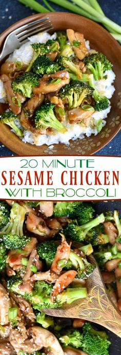 This easy 20 Minute Sesame Chicken with Broccoli is going to quickly become your favorite go-to easy dinner! Serve over white or brown rice for the perfect meal! So much better than takeout! // Mom On (Thai Sesame Chicken)