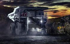 壁紙をダウンロードする 鉱山トラック, 採石場, 夜, 大きなトラック