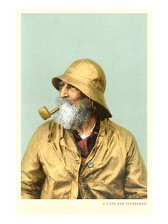 , as seen in vintage postcards Old Fisherman, Fisherman's Hat, Nautical Art, A Level Art, Human Art, Portrait Art, Portraits, Vintage Prints, Doodle Art