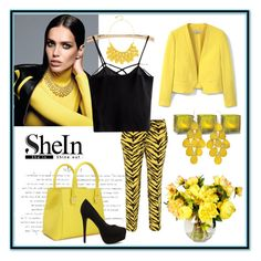"""SheIn Contest"" by nashama ❤ liked on Polyvore featuring Boutique Moschino, Victoria Beckham, Nly Shoes, MANGO, Cultural Intrigue, Alexa Starr, StreetStyle, yellow, stylish and clothes"