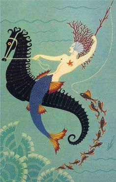 Mermaid on a Seahorse in the style of Romain de Tirtoff (Erté) https://www.etsy.com/listing/515406015/aquatic-style-romain-tirtoff-erte?ref=unav_listing-other-5