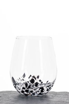 Black and White Stars on a wine glass, oh so classy!  Handmade in Chicago by Baigelman Glass.