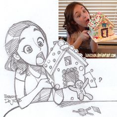 Threatlevelmidnightb Sketch by Banzchan on deviantART (love the creative addition of the gingerbread man jumping out the front door to escape being eaten)
