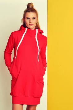 Hoodies - Still-Sweatjacke/Kleid mit Reißverschlüssen RED - ein Designerstück von mamatu bei DaWanda