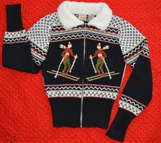 Kids Ugly Christmas Sweater with Skiers and fuzzy collar