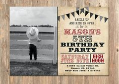 Western Birthday Invitation Cowboy Invite Rodeo Party