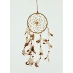 Dream hanging made of jute twig, feather and wood beads