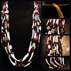Abalone pinenuts dentalium shell necklace by MyShellCreationsShop