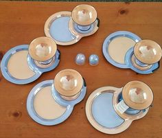 Noritake Lustre China -Rare 10 Pc  Snack set  Blue And Gold Antique Hand Painted #NoritakeLustre