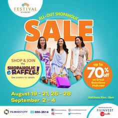 Check out Festival Mall's Triple Weekend  All-Out Shopaholic SALE!  Enjoy up to 70% OFF on great selection of items mall-wide!  Promo available on August 19 - 21, August 26 - 28, and on September 2 - 4, 2016.  For more promo deals, VISIT http://mypromo.com.ph! SUBSCRIPTION IS FREE! Please SHARE MyPromo Online Page to your friends to enjoy promo deals!