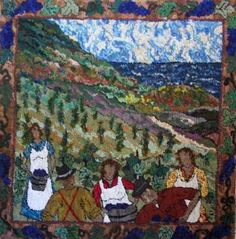 Picking Grapes in Northern Nova Scotia by Deanne Fitzpatrick. Earth tone landscape, with men and women. Rug hooking ideas.